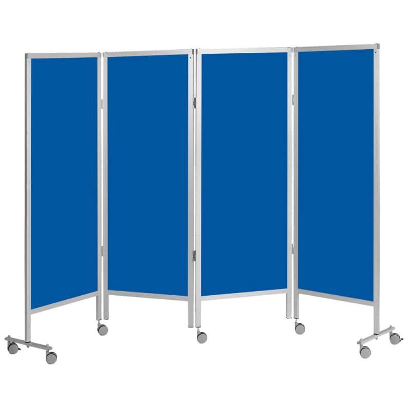 paravent avec roulettes 4 bleu praxisdienst. Black Bedroom Furniture Sets. Home Design Ideas