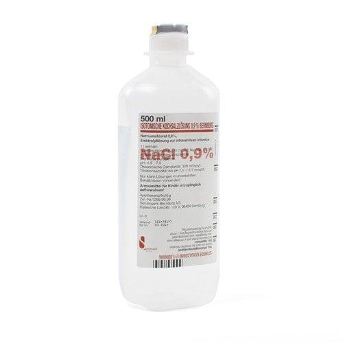 Isotonische Kochsalzlösung NaCl 0,9% in der 500ml PE-Flasche