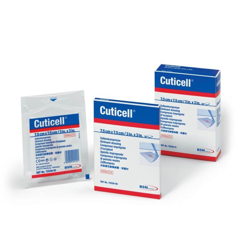 Cuticell® zalfkompres, verkrijgbaar in verschillende formaten en verpakkingen