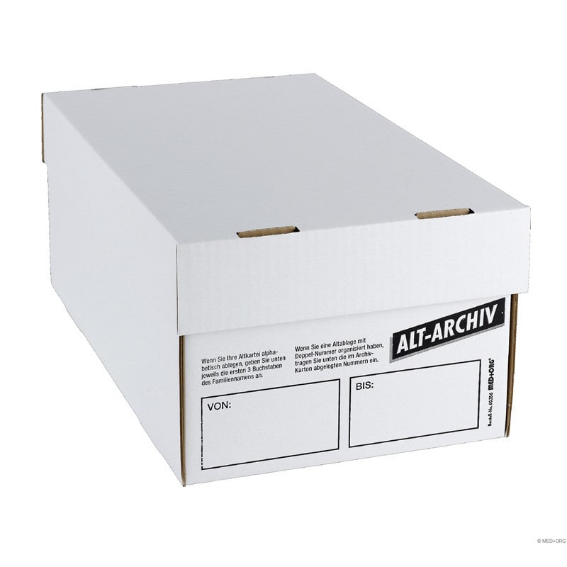 Alt-Archiv-cardboard box for storage of patient files