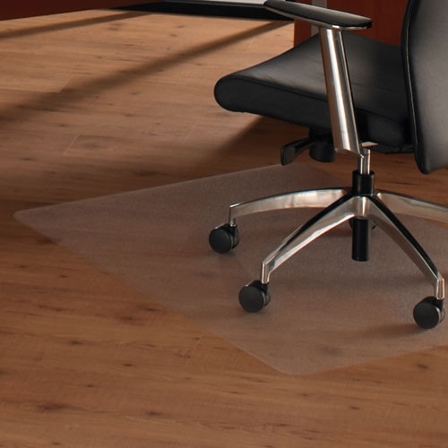 Chair mat to protect hard and soft floors from castors on chairs and stools