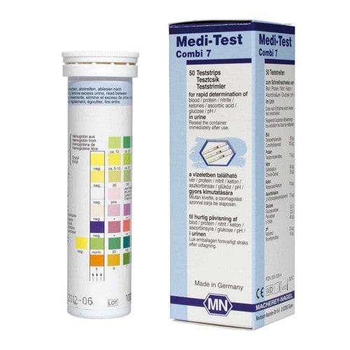Medi-Test Combi 7 mit Trockenmittel im Deckel zum Feuchtigkeits-Schutz
