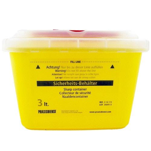3 Liter Kanülensammler zur Entsorgung von Kanülen, Skalpellen und Instrumenten