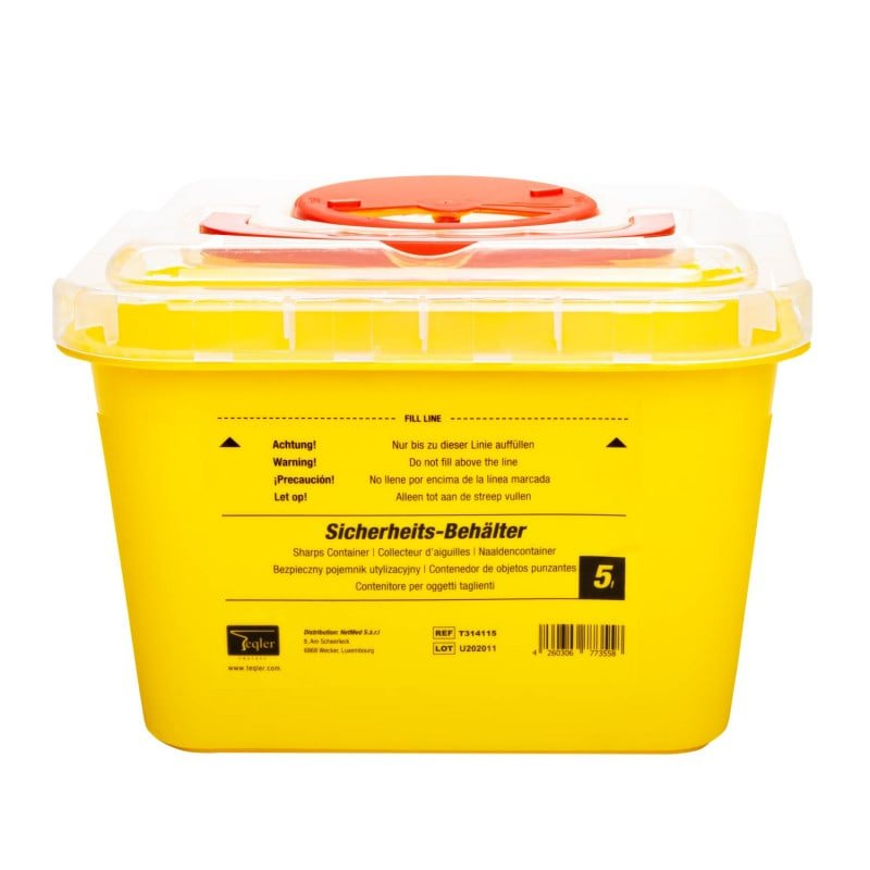 5L sharps container for the disposal of needles, scalpels and instruments