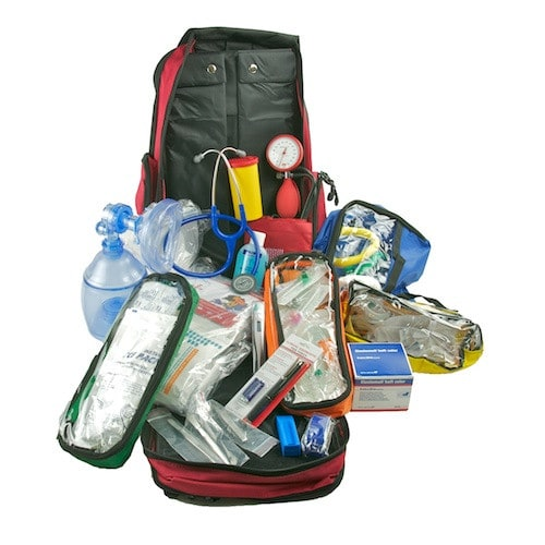 Emergency backpack filled with comprehensive first aid supplies