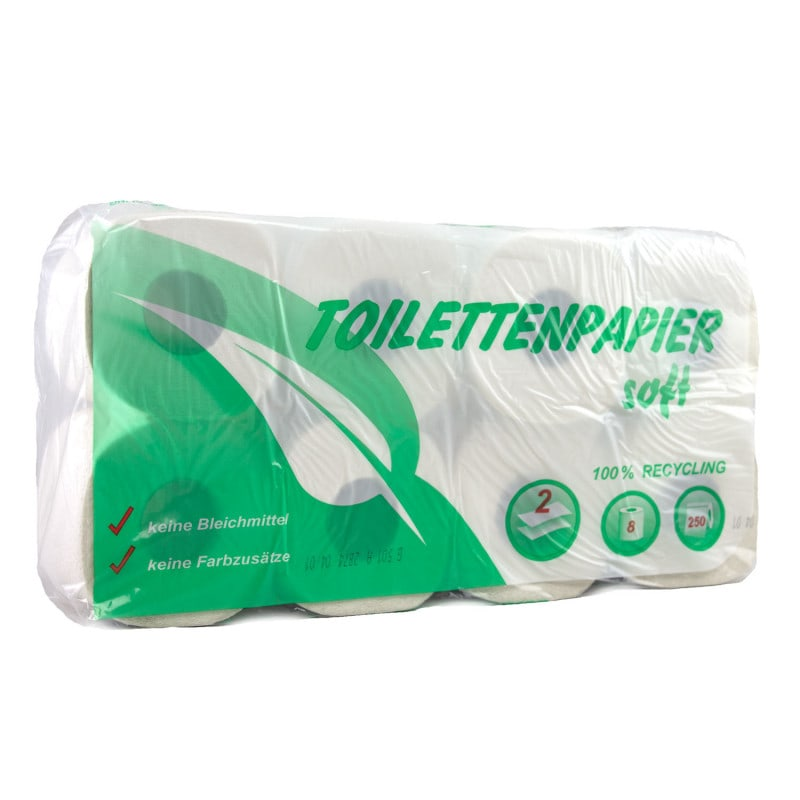 Recycling-Toilettenpapier soft - Aus 100% Recycling- Material, Packung 64 Rollen