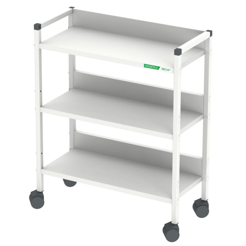 Mini shelf trolley | Smooth rolling castors, 3 shelves, square steel tube frame