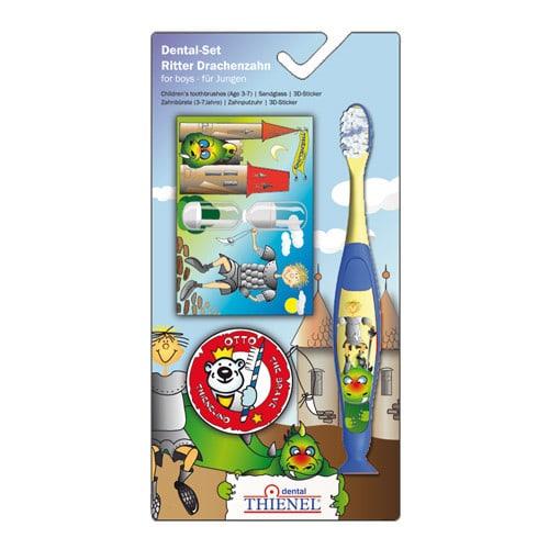 Zahnputzset für Kinder von 3-7 Jahren, mit Zahnputzuhr und Sticker