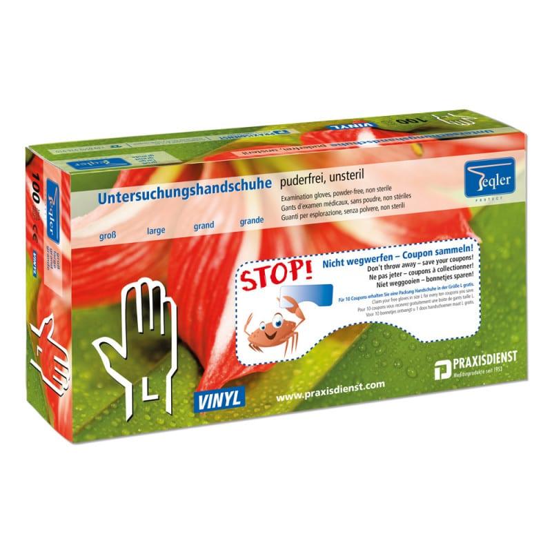 Puderfreie Vinyl-Handschuhe von Teqler gemäß EN 455 und 5 Jahre haltbar
