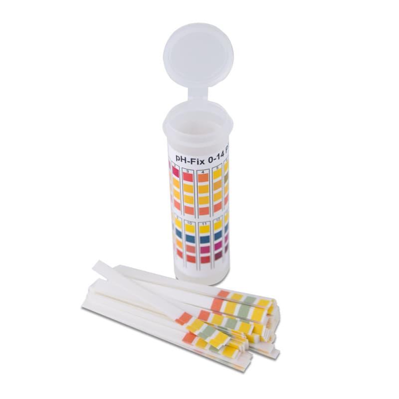 1 Röhrchen mit 100 Teststreifen. Farbskala auf der Verpackung
