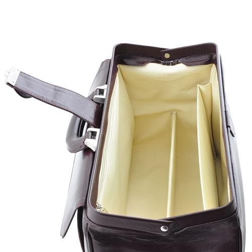 Klassische Leder-Arzttasche mit zweigeteiltem Taschenboden