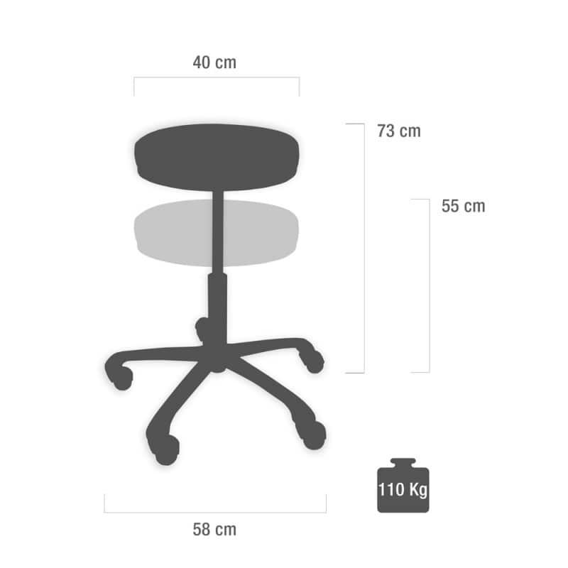 tabouret pivotant 55 73cm cramoisi praxisdienst. Black Bedroom Furniture Sets. Home Design Ideas