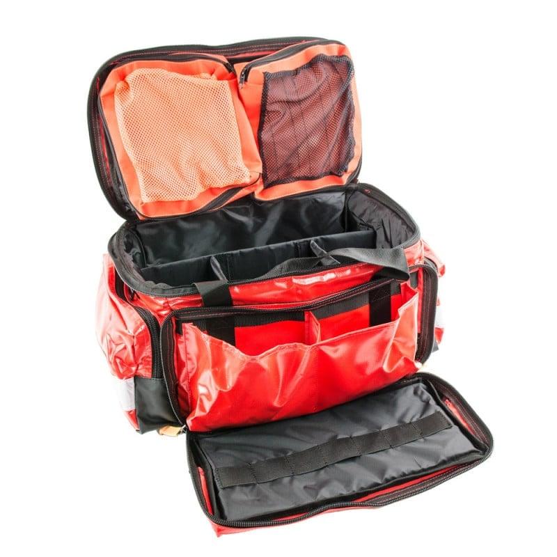 Große Fronttasche mit 2 Fächern und ent-nehmbare Modultaschen im Deckel
