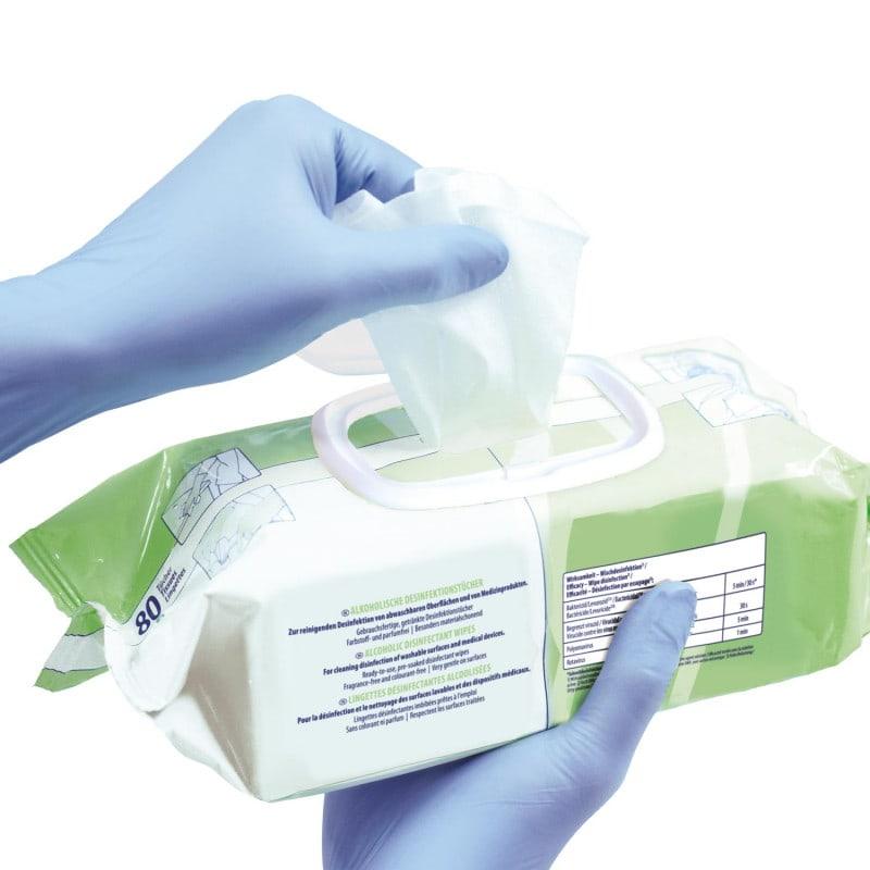 Reißfeste, saugfähige PET-Vlies-Tücher, getränkt mit Bacillol 30 Foam