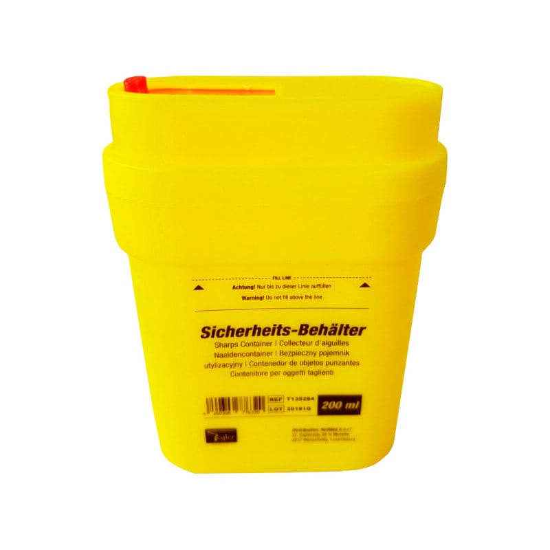 200 ml sharps container for disposing of test strips