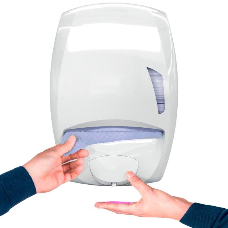 Praktischer Spender für bis zu 550 ml Seife und 400 Handtücher