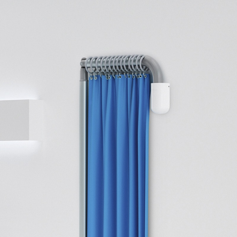 Ausziehbare und abknickbare Teleskopstange mit staph CHEK® Vorhang