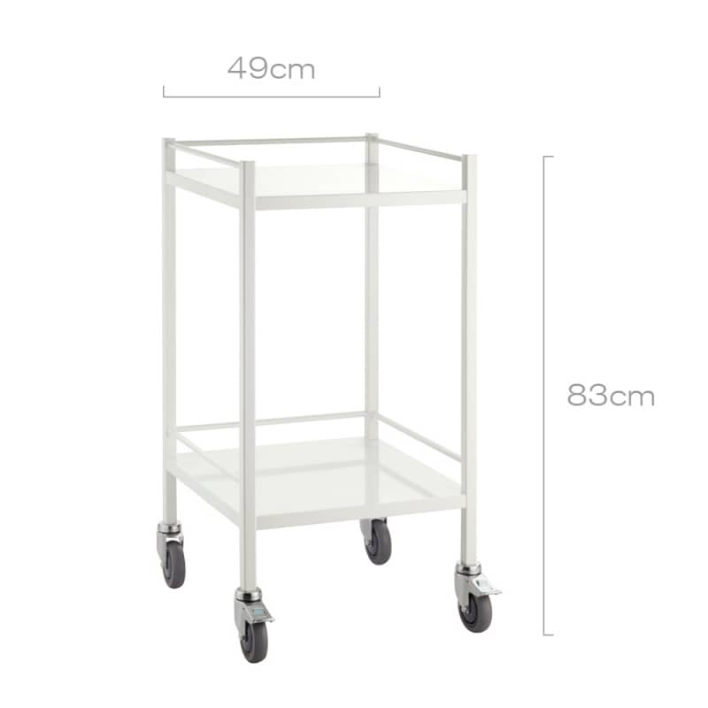 With 2 shelves for storing medical devices and supplies