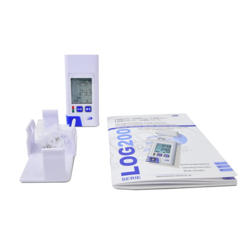 Delivered with LOG 200 PDF data logger, wall bracket, user manual & ISO certificate