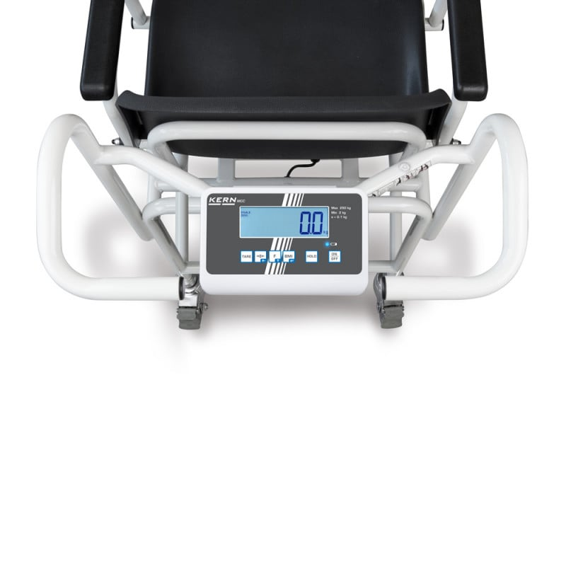 Evaluation device with large LCD display behind the backrest