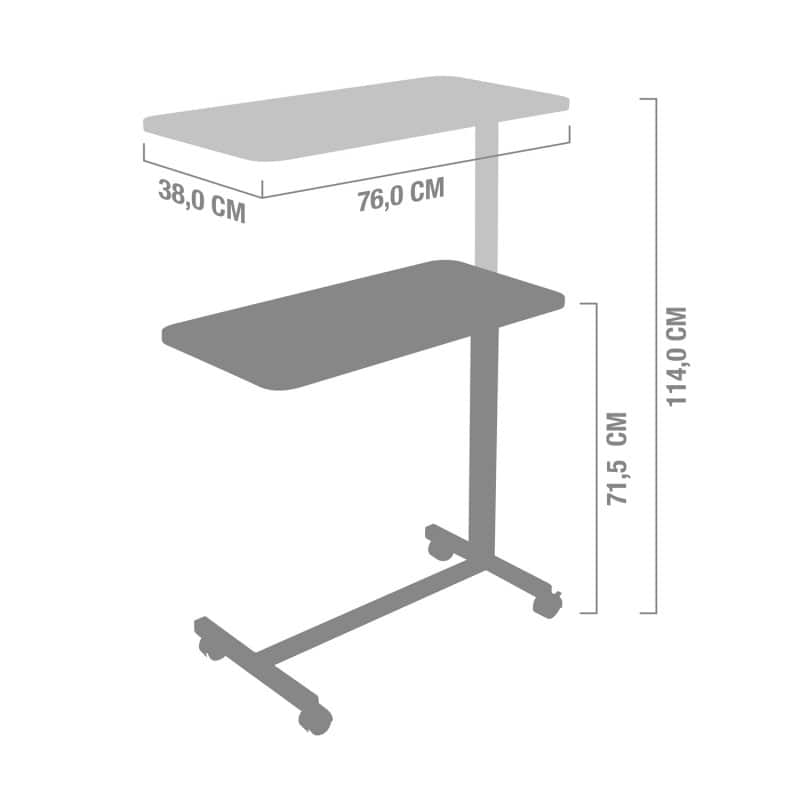 Height adjustable between 71.5 and 114cm, tabletop size: 76 x 38cm