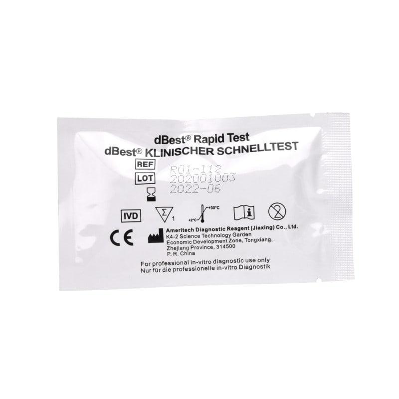 10 pakowanych pojedynczo kaset testowych łącznie z pipetami jednorazowymi