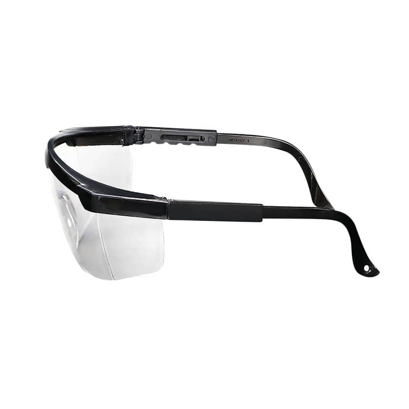 Safety spectacles with adjustable temples