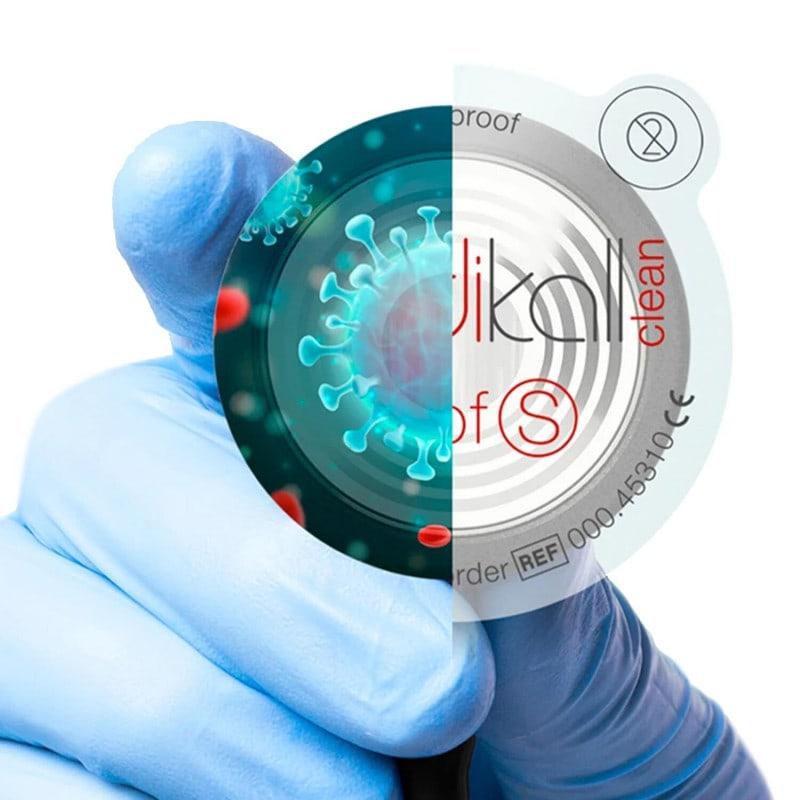 Barrera de protección contra gérmenes para todos los estetoscopios disponibles en el mercado, para interrumpir la cadena de infección