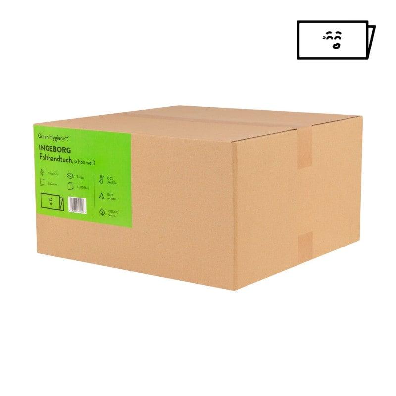 Die Falthandtücher werden plastikfrei in Kartons verpackt