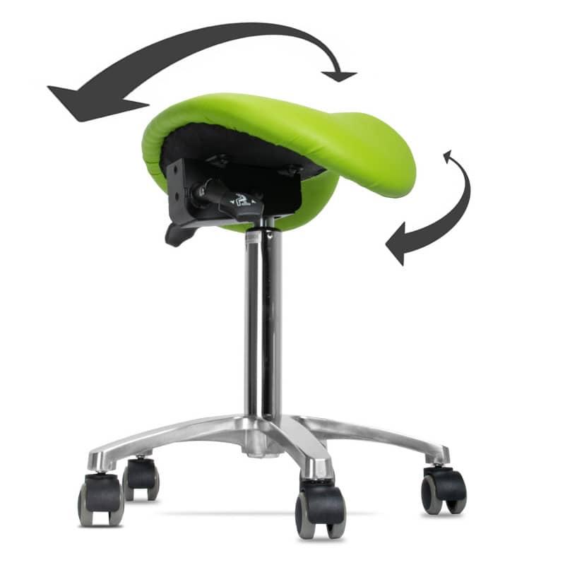 360° draaibaar en individueel aanpasbare zittingsneiging