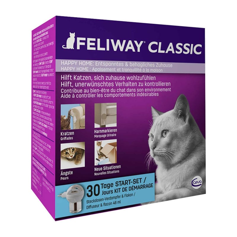 Prevents scratching, urine markings and helps with stressful changes (moving etc)