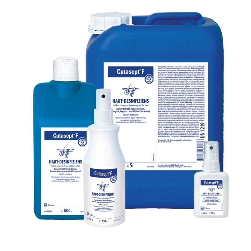 Das Cutasept F Hautantiseptikum ist in verschiedenen Größen erhältlich