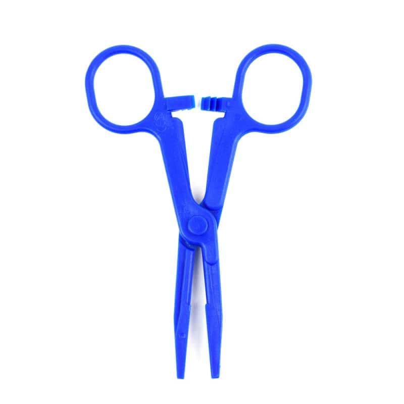 Con pinza mod. Kocher, 14 cm, de plástico azul