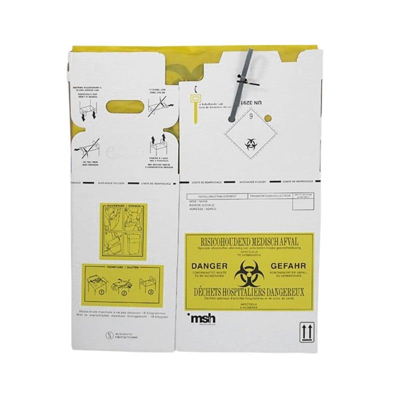 Flach gefalteter Entsorgungskarton kann mit wenigen Handgriffen aufgebaut werden