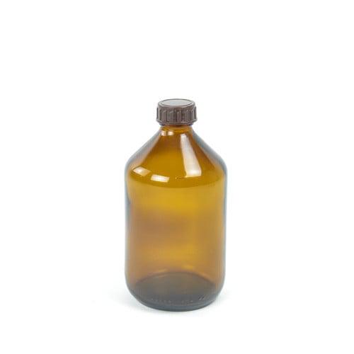 Jede Medizinflasche wird mit passendem Schraubverschluss in Braun geliefert
