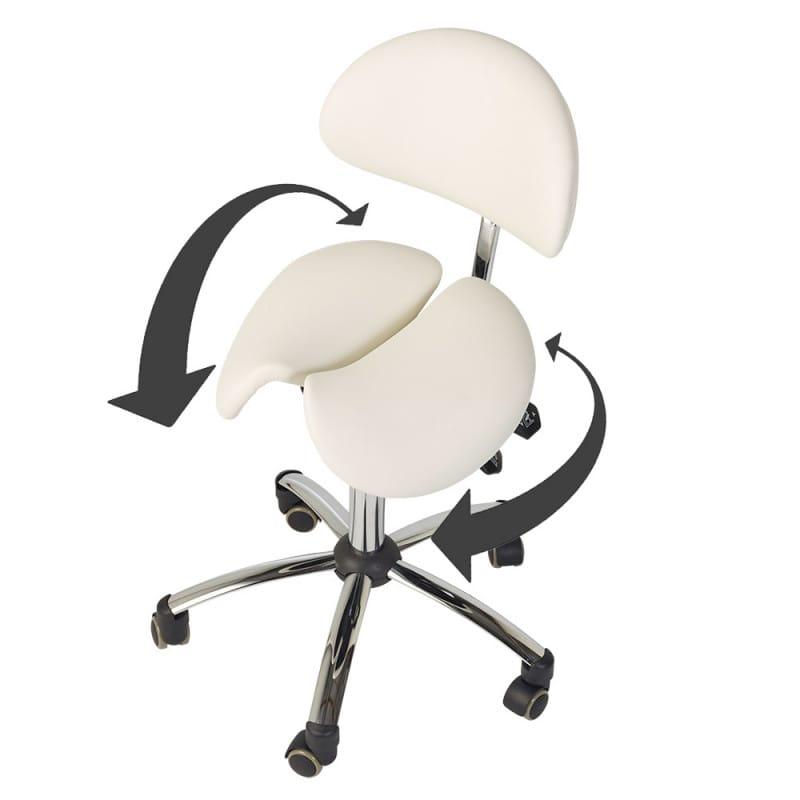 Federnd gelagerte, 2-teilige Sitzfläche passt sich seitlichen Bewegungen an