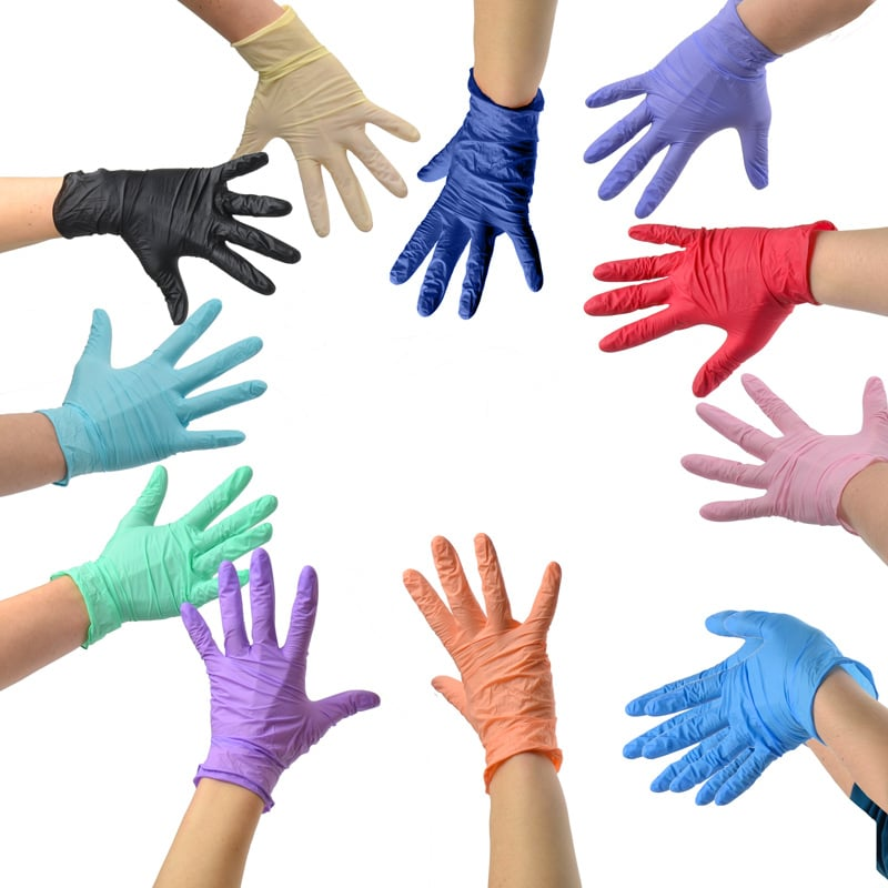 Pink nitrile gloves