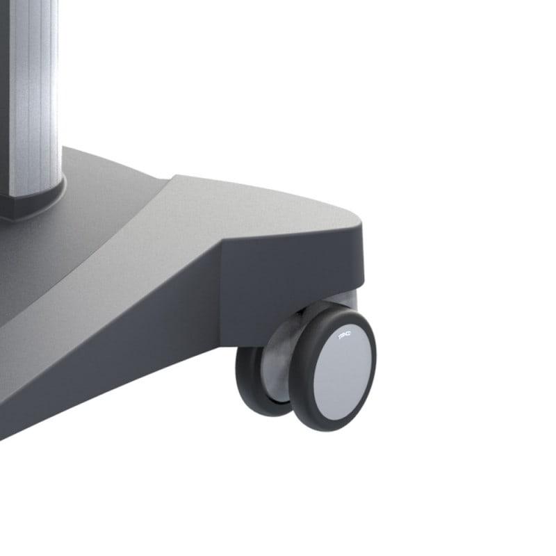 2 feststellbare Rollen (75 mm) vorne, hinten 2 Rollen (100 mm)