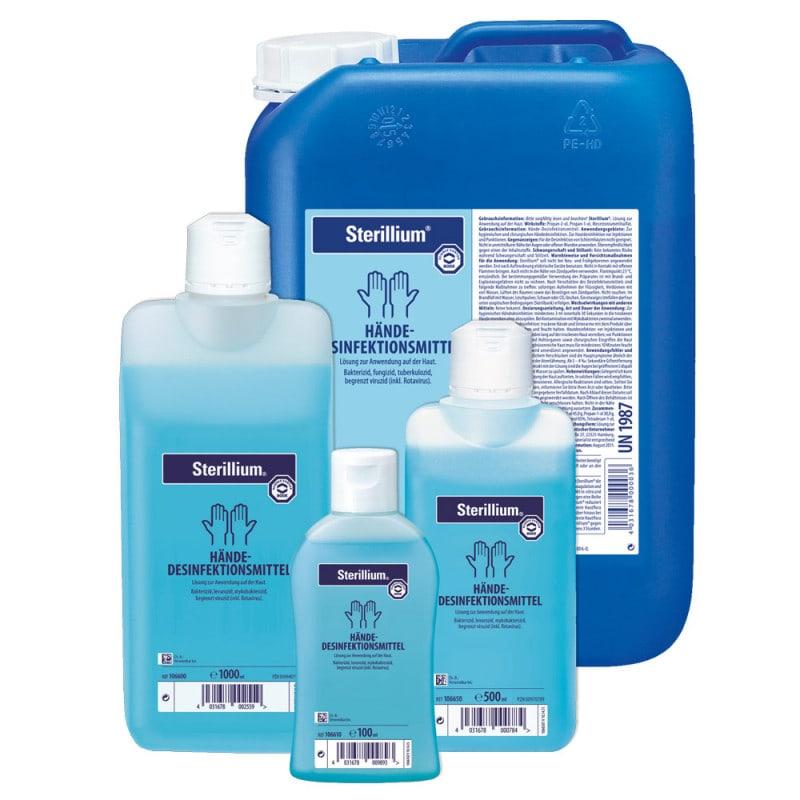 Ob Nachfüllflasche für Armhebelspender oder Kittelflasche: Bode Sterillium kaufen Sie bei uns in verschiedenen Größen