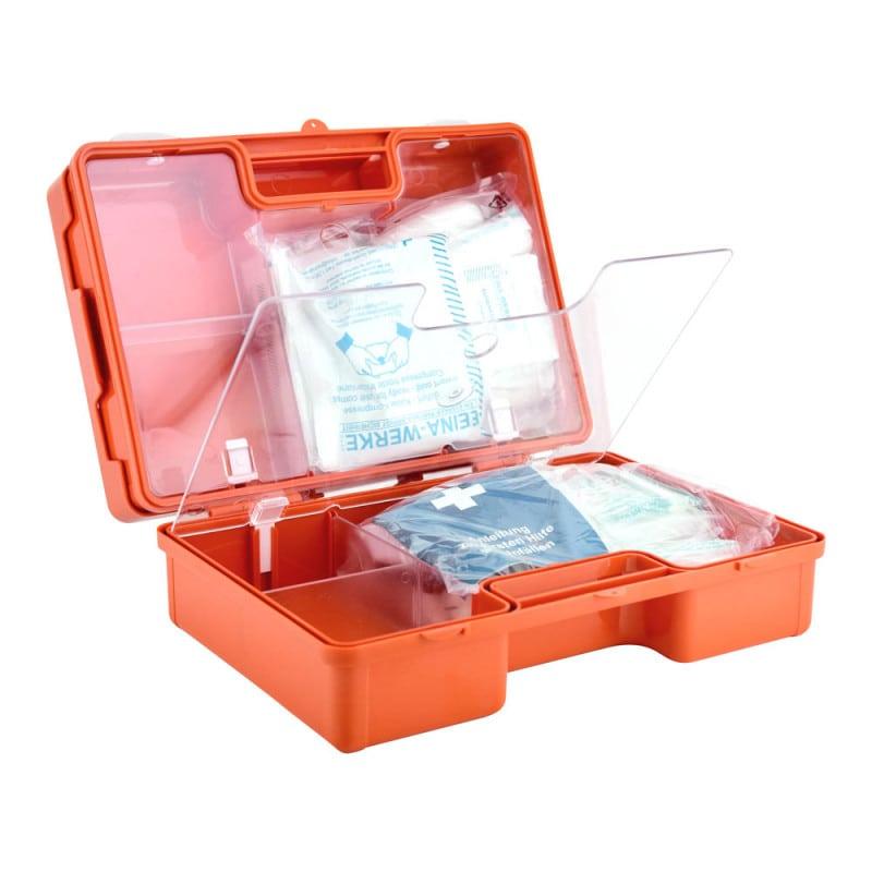 Erste-Hilfe-Koffer mit transparenten Abdeckungen und variabler Einteilung