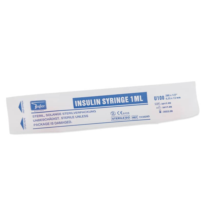 Teqler insulin syringes are delivered individually sterile packed