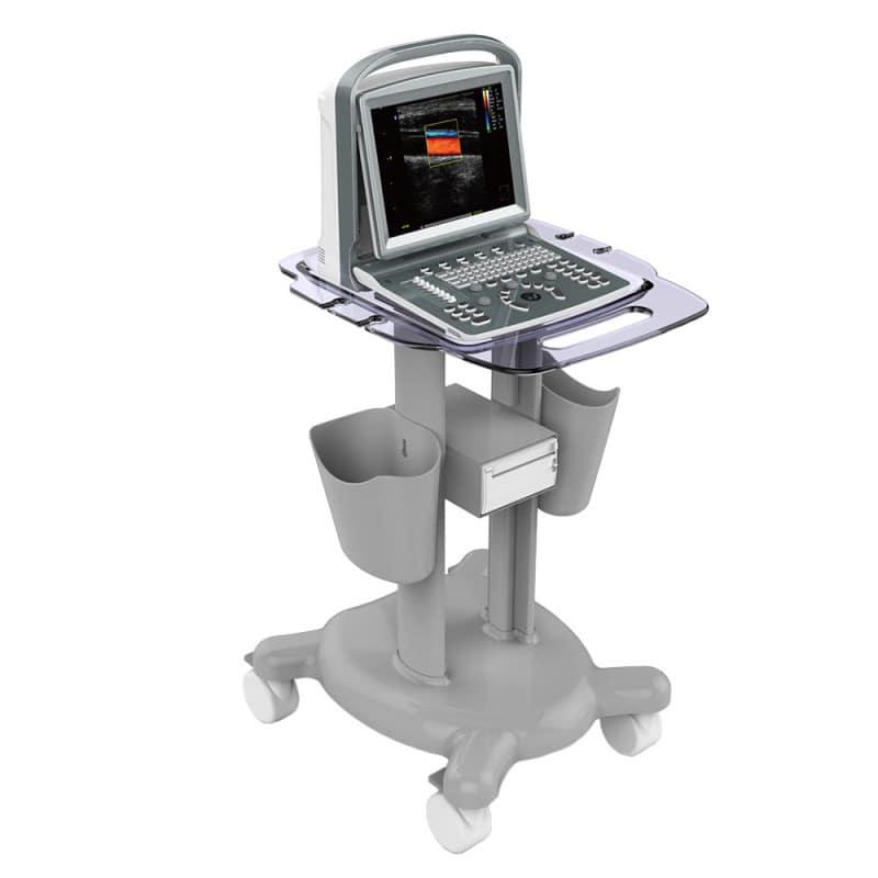 Ein passender Gerätewagen für das Ultraschallgerät ist separat auf Anfrage erhältlich