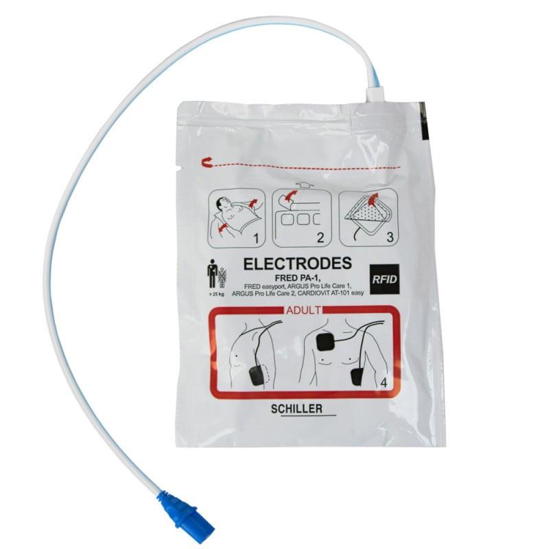 Lieferung mit vorkonnektierten Defibrillations-Elektroden für Erwachsene