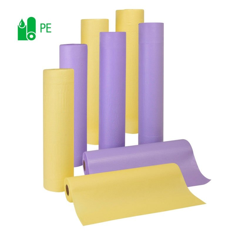The layered sanitary paper is available in yellow and purple