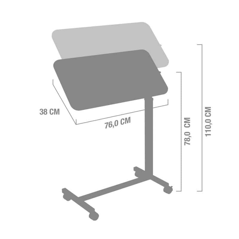 Tischplatte in Holzoptik, 76 x 38cm groß, höhenverstellbar von 78 - 110cm