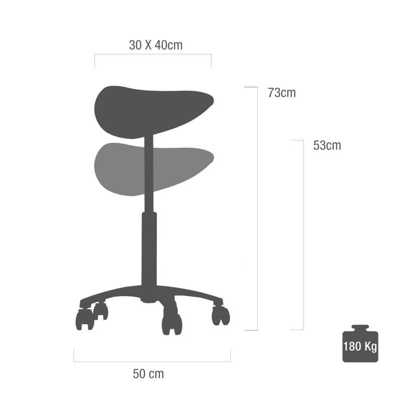 Dimensions and adjustment options of the saddle stool at a glance