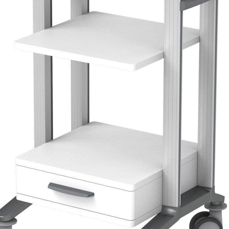 With 3 load-bearing wooden/plastic shelves and a smooth-running drawer