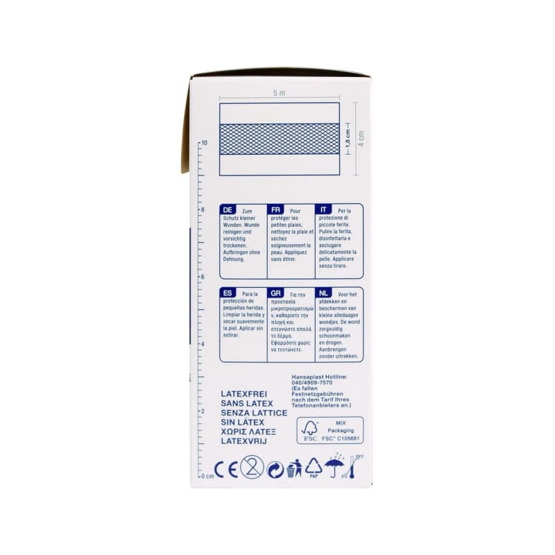 Adhesive plaster roll with a 5m length and a 4cm width