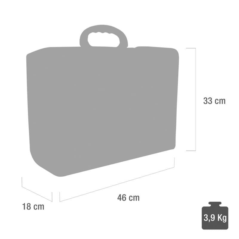 Overview of the bag's dimensions