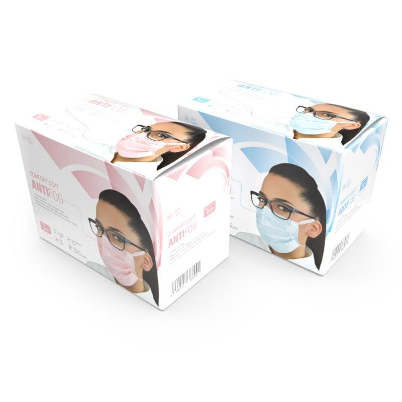 La mascherina antiappannamento è disponibile a scelta in rosa o celeste